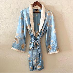Jones New York Blue Floral Polyester Robe Small